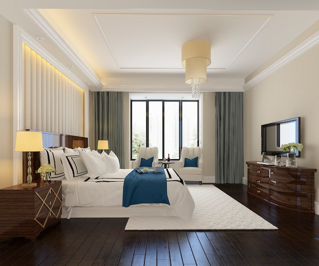 Renderização 3d da suíte de quarto de luxo bonito no hotel com tv