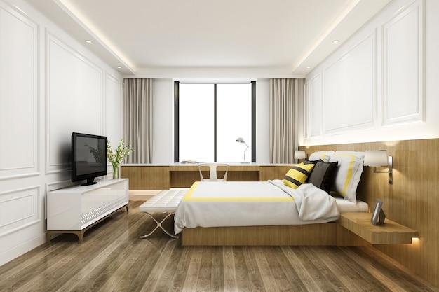 Renderização 3d da suíte de quarto no hotel com tv