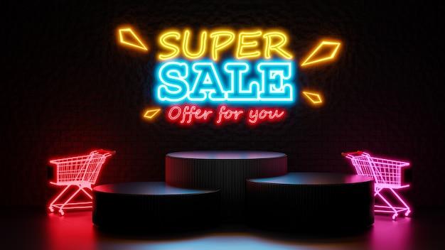Renderização 3d da super venda com pódio para exposição do produto