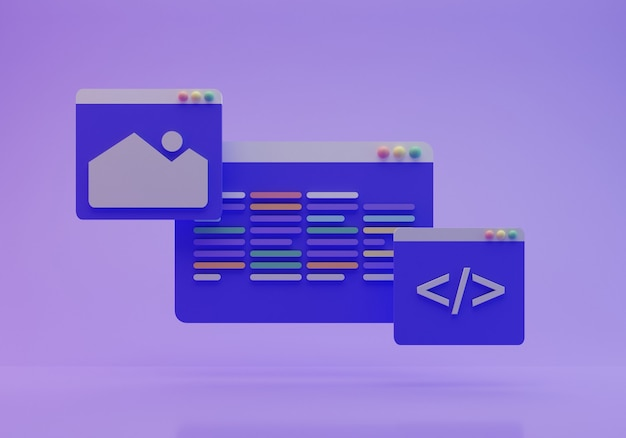 Renderização 3d da tela de codificação
