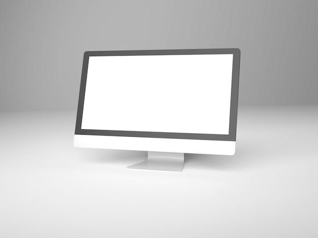 Renderização 3d da tela do computador desktop moderno Foto Premium