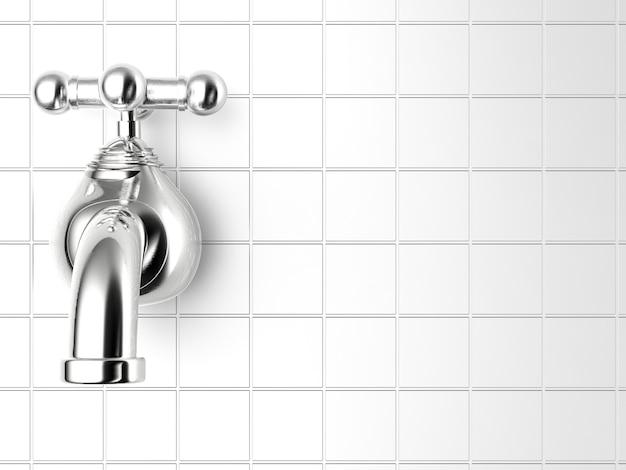 Renderização 3d da torneira de água com fundo de parede de azulejos