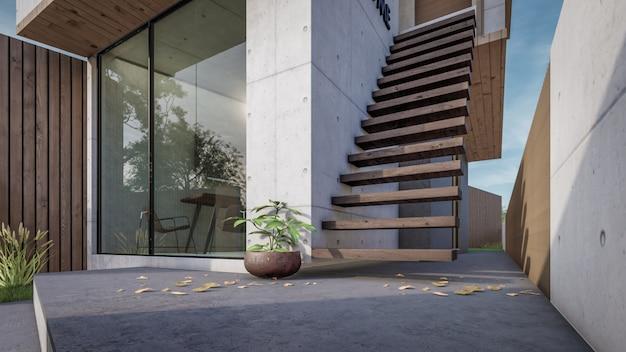 Renderização 3d da visualização moderna da casa