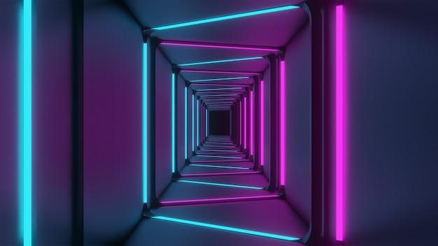 Renderização 3d das luzes do corredor rosa-azuladas com fundo preto suave abstrato
