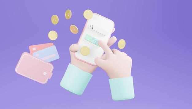 Renderização 3d das mãos com um smartphone e algumas moedas no fundo roxo