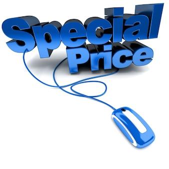 Renderização 3d das palavras preço especial conectado a um mouse de computador