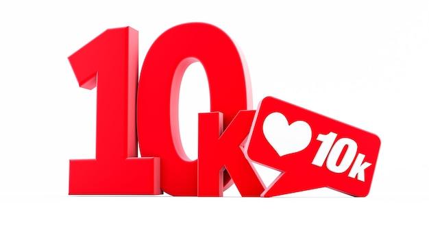 Renderização 3d de 10.000 seguidores, obrigado, isolado no fundo branco, ouro 10.000 seguidores