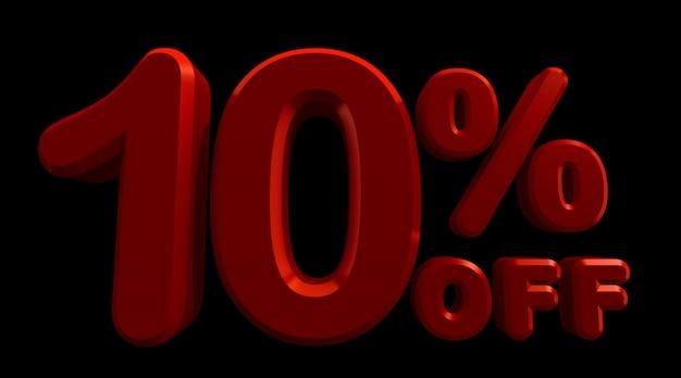 Renderização 3d de 10% de desconto em preto