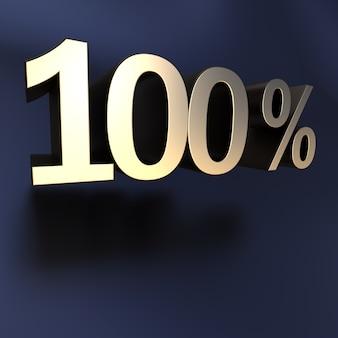 Renderização 3d de 100 por cento em letras douradas em um fundo preto