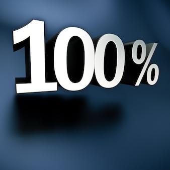 Renderização 3d de 100 por cento em letras prateadas em um fundo preto