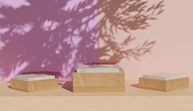 Renderização 3d de 3 modelos de pódio de madeira em forma de cubo com sombras de folhas foto premium