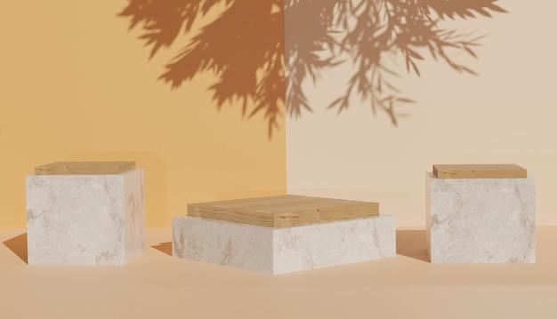 Renderização 3d de 3 modelos de pódio de mármore em forma de cubo com sombras de folhas foto premium