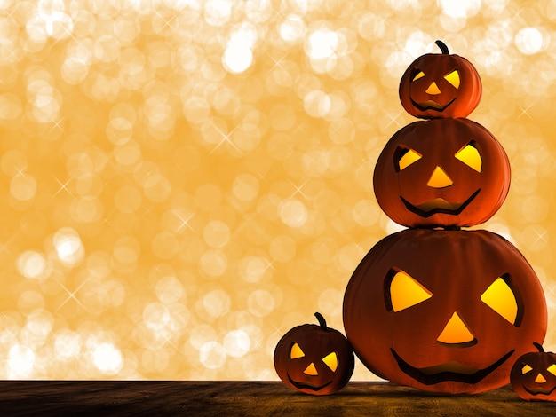Renderização 3d de abóbora de halloween em fundo laranja