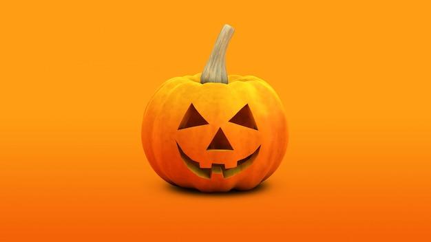 Renderização 3d de abóbora de halloween laranja