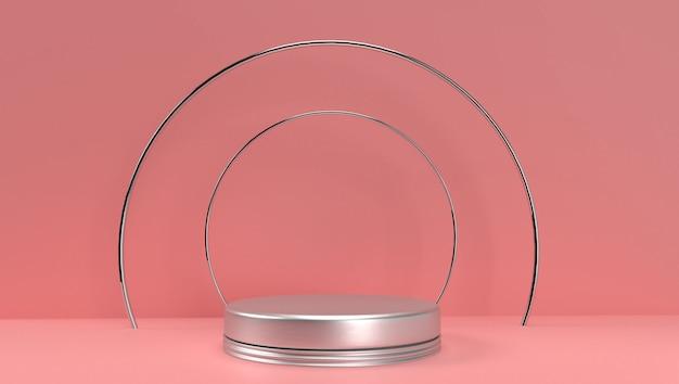 Renderização 3d de abstrato geométrico, cena, pódio, palco e exibição. com tom de cor rosa.