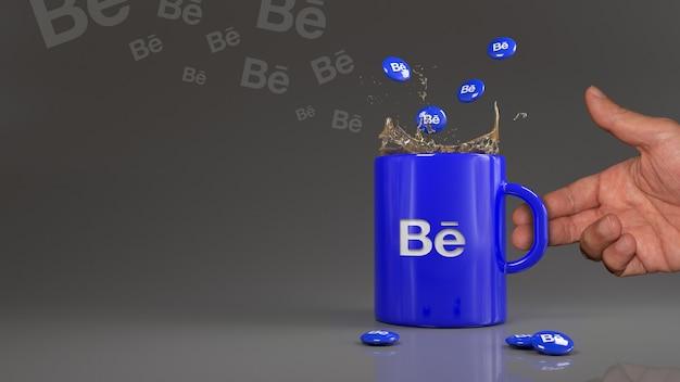 Renderização 3d de alguns comprimidos behance caindo em uma caneca azul com o logotipo desta rede profissional