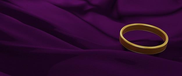 Renderização 3d de anel de ouro e pano roxo. fundo abstrato.