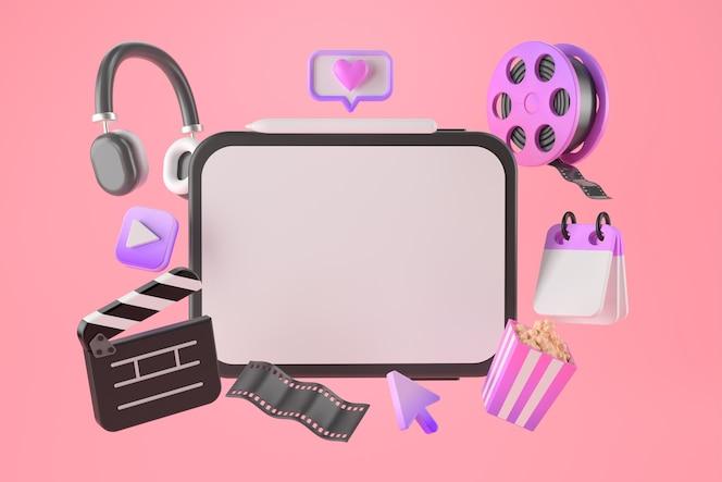 Renderização 3d de aplicativos para tablet e entretenimento.