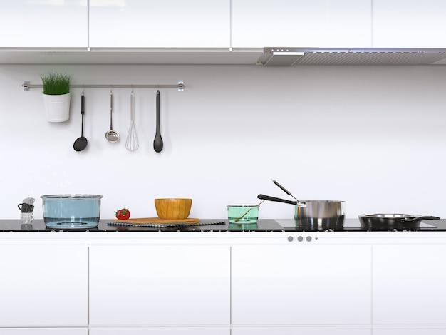 Renderização 3d de armários de cozinha com utensílios de cozinha
