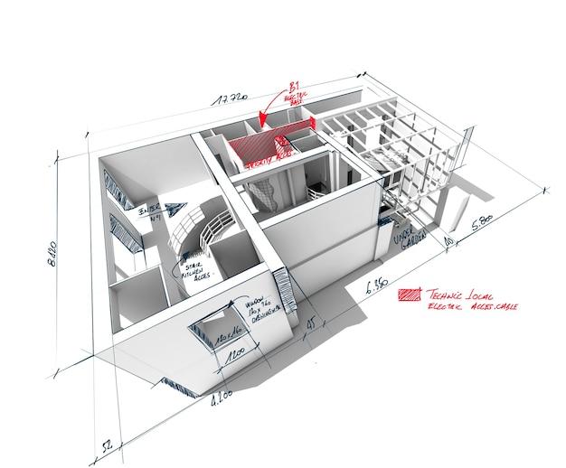 Renderização 3d de arquitetura de uma casa com notas rabiscadas e indicações