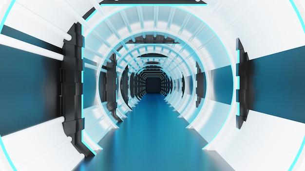 Renderização 3d de arquitetura moderna em corredor de ficção científica