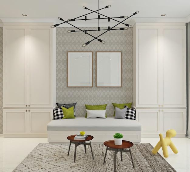 Renderização 3d de atividades ou sala de relaxamento com design clássico moderno