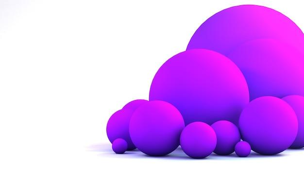 Renderização 3d de balões rosa em um fundo branco