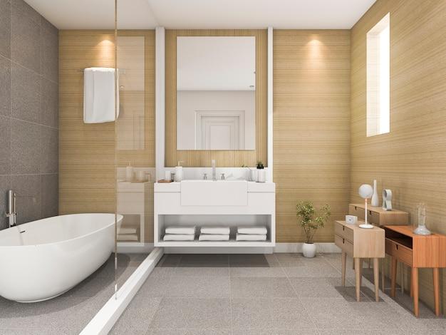 Renderização 3d de banheiro de madeira de faia