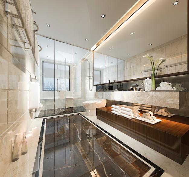 Renderização 3d de banheiro moderno de luxo