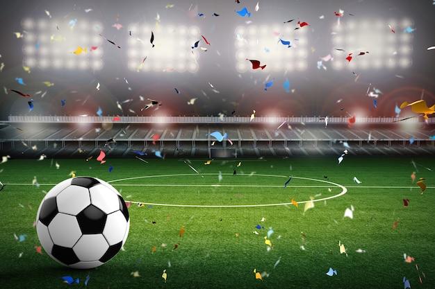 Renderização 3d de bola de futebol com estádio de futebol e fundo de confete