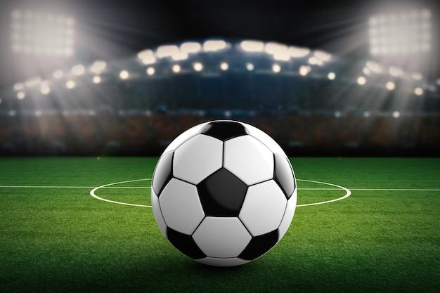 Renderização 3d de bola de futebol com fundo de estádio de futebol