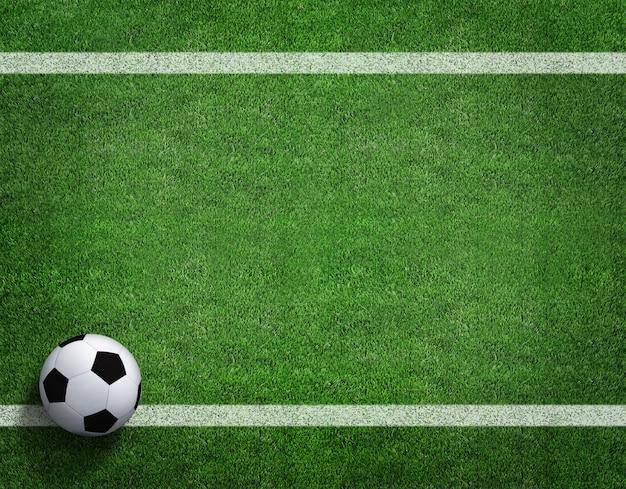 Renderização 3d de bola de futebol com linha no campo de futebol.
