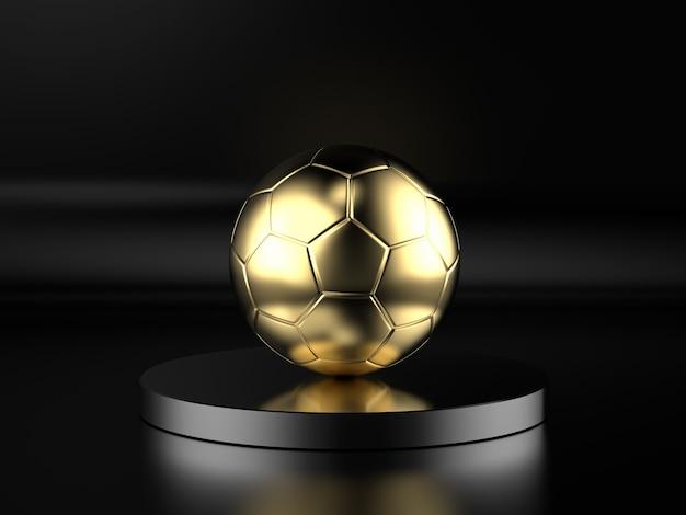 Renderização 3d de bola de futebol dourada em fundo preto