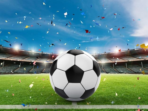 Renderização 3d de bola de futebol em campo verde com céu azul