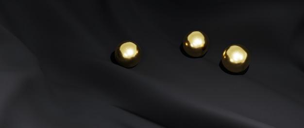 Renderização 3d de bola de ouro e pano preto. fundo abstrato.
