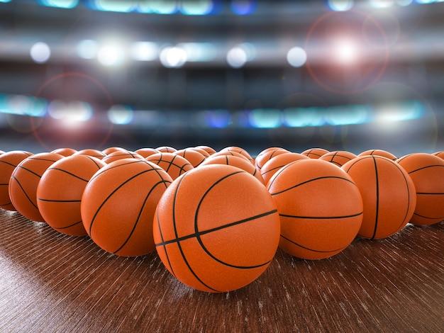 Renderização 3d de bolas de basquete no chão de madeira com luzes brilhantes