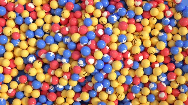 Renderização 3d de bolas de emoji do facebook