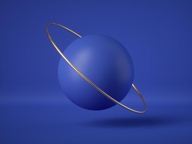 Renderização 3d de bolas flutuantes futuristas azuis abstratas, objetos levitando
