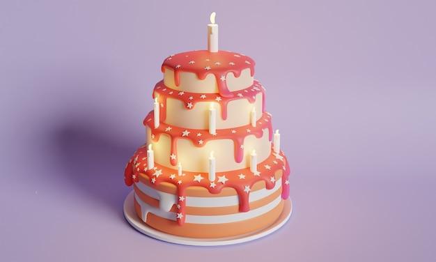 Renderização 3d de bolo de aniversário com decoração de velas