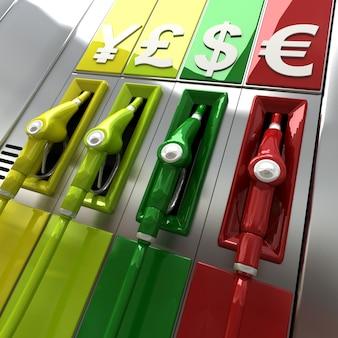 Renderização 3d de bombas de combustível coloridas com símbolos de moeda