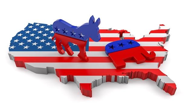 Renderização 3d de burro democrata e elefante republicano