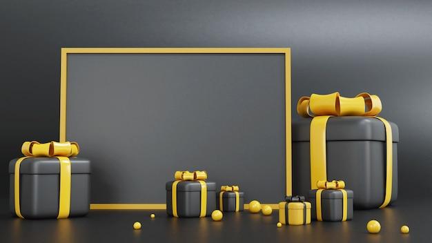 Renderização 3d de caixa de presente amarela e preta para ocasiões diferentes com moldura