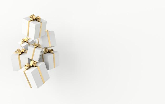 Renderização 3d de caixa de presente branca realista com laço de fita dourada sobre fundo branco