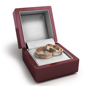 Renderização 3d de caixa de presente lacada de madeira para anéis com duas alianças dentro isoladas em branco