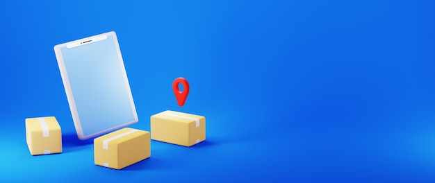 Renderização 3d de caixas de encomendas e telefone celular com ícone de localização no banner de fundo azul