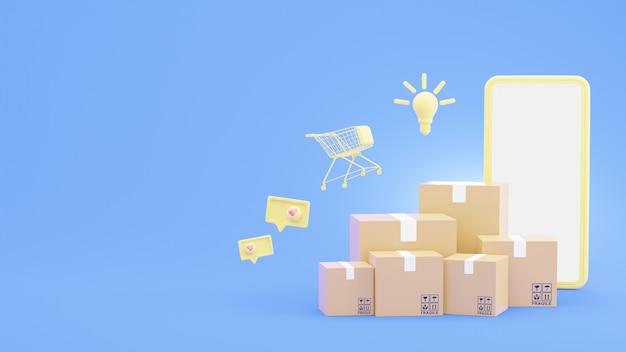 Renderização 3d de caixas de papelão