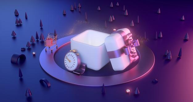 Renderização 3d de caixas de presente e objetos abstratos de natal.