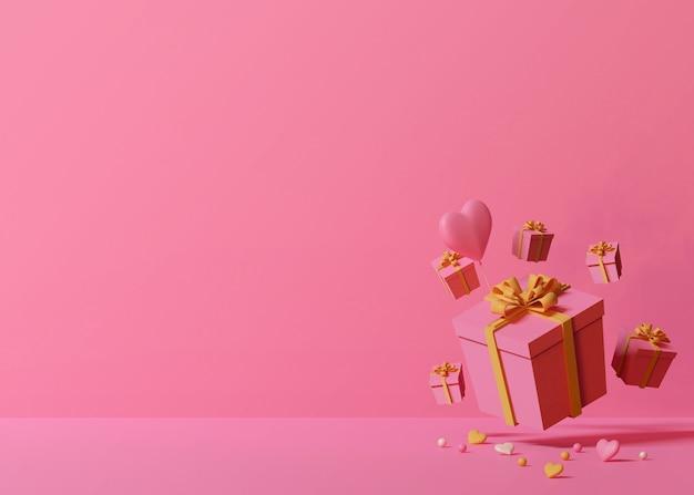 Renderização 3d de caixas de presente rosa e balão em forma de coração em fundo rosa