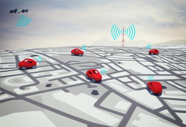 Renderização 3d de carros na estrada com caminho traçado por satélite