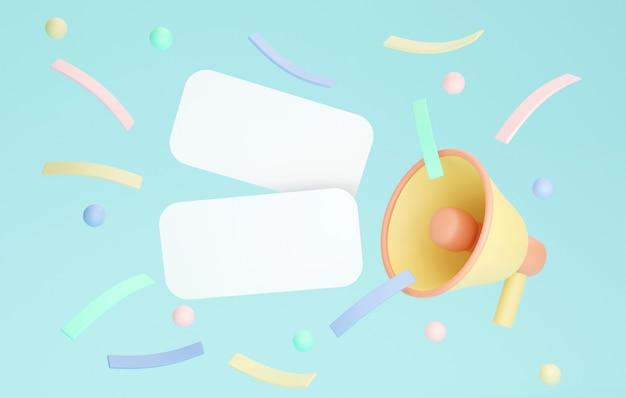 Renderização 3d de cartões de papel em branco com confetes de megafone no fundo. renderização 3d. ilustração 3d.